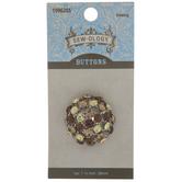 Gold Rhinestone Dome Shank Button - 28mm