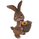 Brown Bunny With Basket Of Flowers