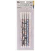 Pink & Blue Floral Fine Tip Pens - 5 Piece Set