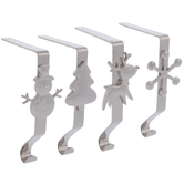 Silver Christmas Icons Metal Stocking Holders