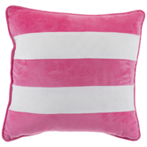 Pink & White Velvet Striped Pillow