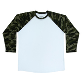 Green Camo Sleeve Adult Baseball T-Shirt - Medium