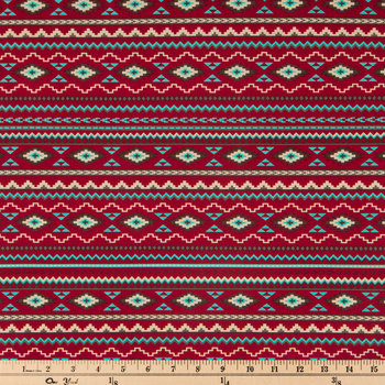 Red Southwest Striped Cotton Calico Fabric