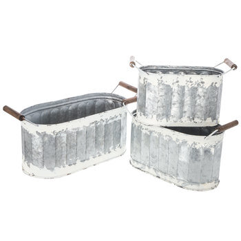 White Rustic Oval Galvanized Metal Container Set