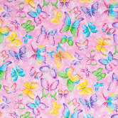 Butterflies On Pink Cotton Calico Fabric