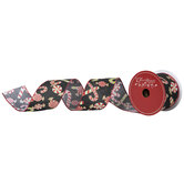 """Glitter Candy Canes Wired Edge Ribbon - 2 1/2"""""""