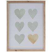 Green & Amber Hearts Wood Wall Decor