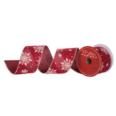 """Red With Snowflakes Wired Edge Ribbon - 2 1/2"""""""