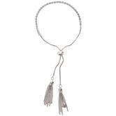 Rhinestone & Tassel Slider Bracelet