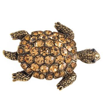 Sea Turtle Rhinestone Brooch