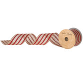 Natural & Red Striped Wired Edge Burlap Ribbon - 2 1/2""