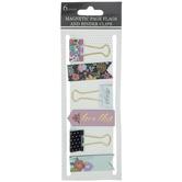 Floral Magnet Bookmarks & Binder Clips