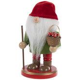 Red & Green Gnome Wood Nutcracker