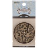 Brown Ornate Cutout Round Button - 44mm