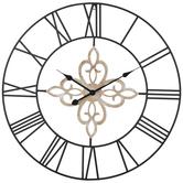 Whitewash Medallion Metal Wall Clock