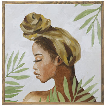 Woman With Leaves Wood Wall Decor