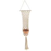 Terra Cotta Flower Pot In Macrame Wall Plant Hanger
