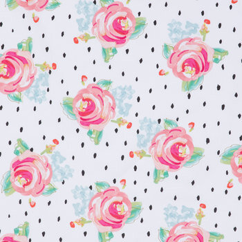 Watercolor Roses & Dots Apparel Fabric