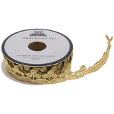 "Gold Narrow Metallic Lace Trim - 3/4"""