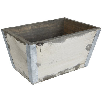 Antique White Rectangle Wood Planter
