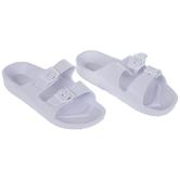 White Buckle Foam Sandals - Size 10