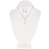 Dangle Rhinestone Necklace & Earrings