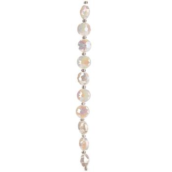 White AB Round Flowercut Glass Bead Strand