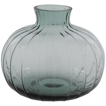 Blue Green Ridged Mini Glass Vase