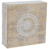 White Debossed Compass Wood Decor