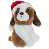 Brown & White Plush Dog With Santa Hat