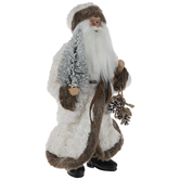 Santa Claus With White Coat & Tree