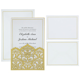 Gold Damask Wedding Invitations