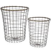 Rattan Rim Round Metal Basket Set