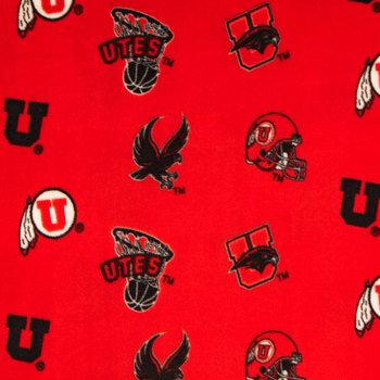 Utah Allover Collegiate Fleece Fabric