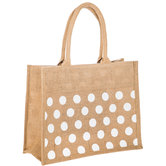 Beige & White Polka Dot Jute Tote Bag
