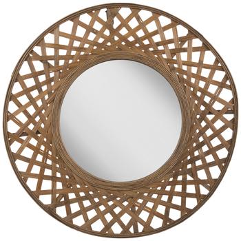 Woven Wood Wall Mirror