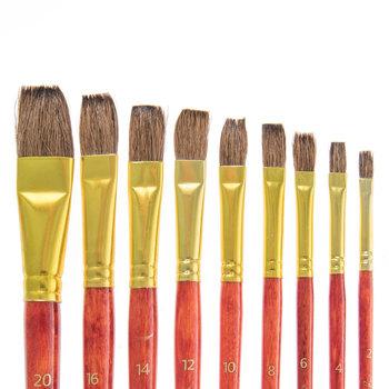 Flat Paint Brushes - 9 Piece Set