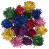 """Multi-Color Glitter Pom Poms - 1"""""""