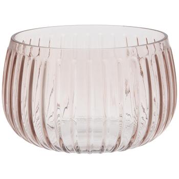 Blush Pink Ridged Glass Bowl