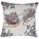 Santa In Sleigh With Reindeer Pillow