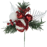 Red & White Ball Pick With Pine