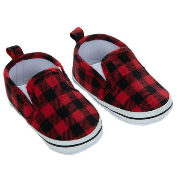 Red & Black Buffalo Check Crib Shoes