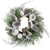 Whitewashed Pine Wreath With Pinecones