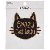 Crazy Cat Lady Glitter Iron-On Applique