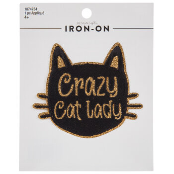 Crazy Cat Lady Glitter Iron-On Applique