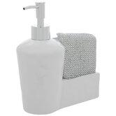 White Dimpled Soap Dispenser & Sponge Holder