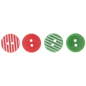 Red, Green & White Striped Buttons