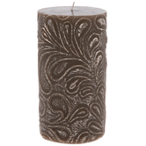 Brown Leaf Print Pillar Candle