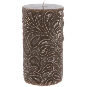 Brown Leaf Print Pillar Candle
