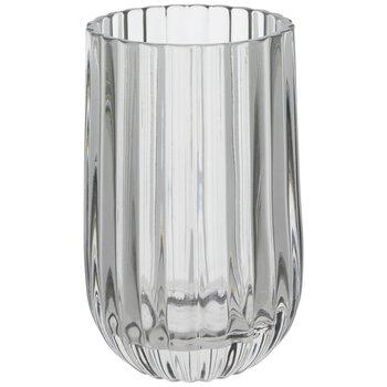 Gray Ridged Glass Vase